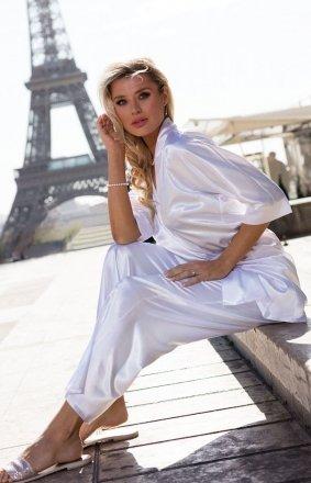 Biała satynowa piżama damska Keira