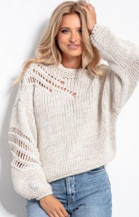 Oversizowy sweter alpaka beżowy F1054