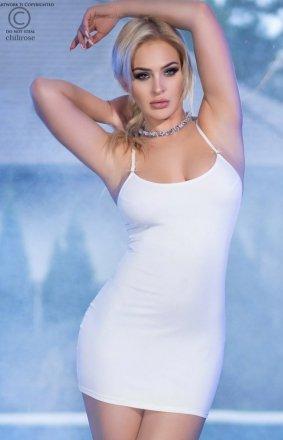 *Dopasowana biała mini sukienka 4380