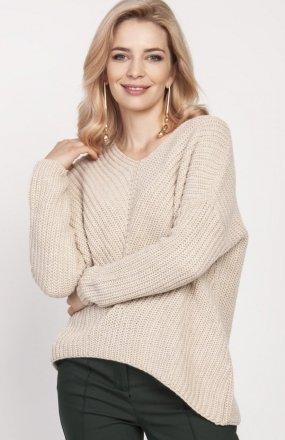 Oversize'owy sweter o asymetrycznym kroju beż SWE124