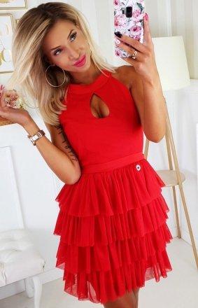 Czerwona sukienka z falbankami 2188-02