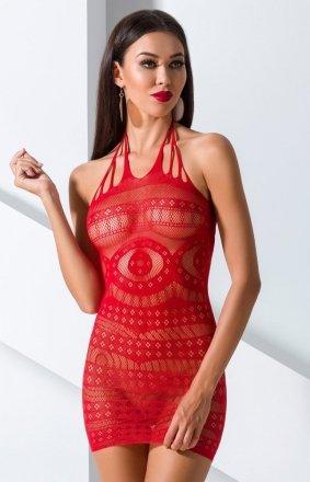 *Czerwona siateczkowa sukienka BS063