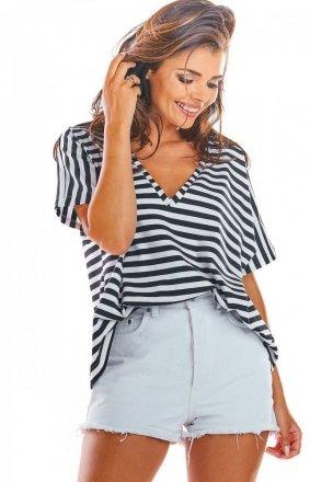Oversizowa bluzka w czarno białe paski M203