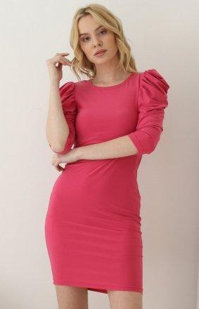 Różowa ołówkowa sukienka Z372