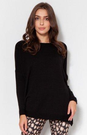 Oversize'owy sweter z wiskozy czarny SWE133