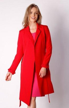 Wiązany asymetryczny płaszcz czerwony NA035LP