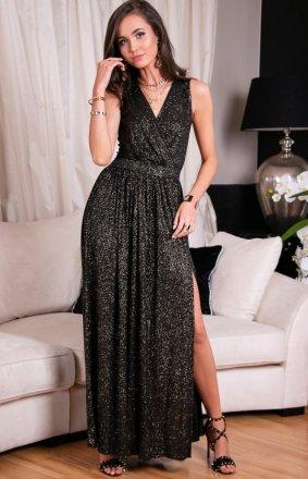 Wieczorowa sukienka z brokatem złotym 224