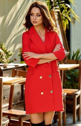 Garniturowa sukienka czerwona L278