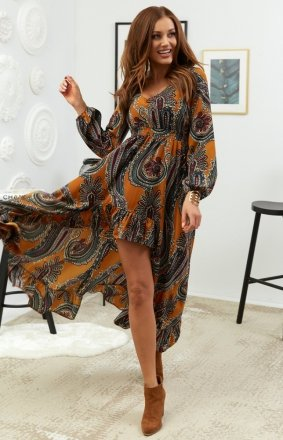 Asymetryczna sukienka maxi Lola kolorowy wzór