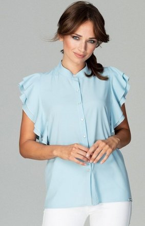 Efektowna bluzka z falbankami błękitna K482