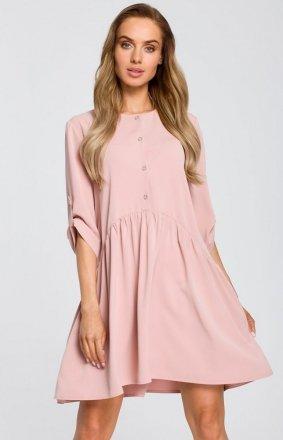 Luźna sukienka pudrowy róż M427
