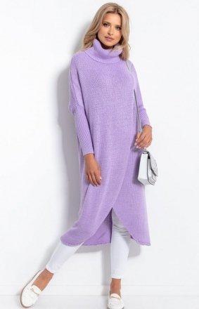 Długi sweter z golfem fioletowy F1052