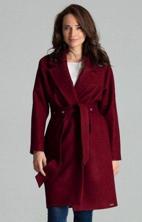Elegancki wiązany płaszcz damski bordowy L054