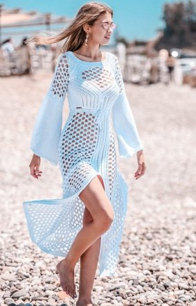 Sukienka plażowa biała F732