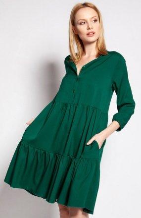 Sukienka z falbankami zielona SUK179