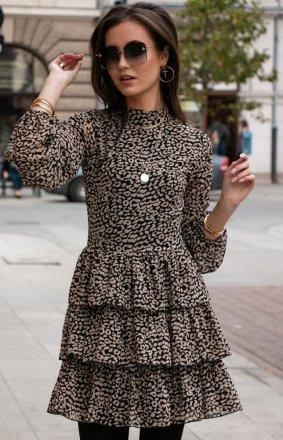 Kobieca sukienka w panterkę 0261/D41