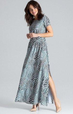 Długa wzorzysta sukienka na co dzień L042