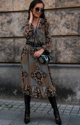 Wzorzysta sukienka midi z falbaną 0241/64