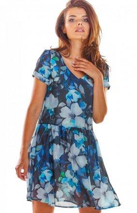 Wzorzysta sukienka niebieska A298