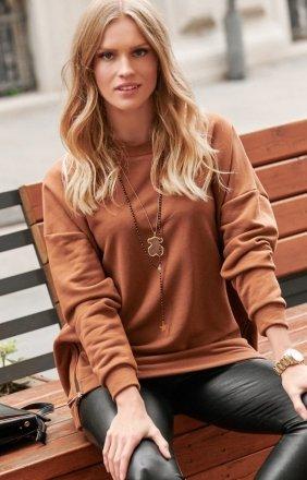 Asymetryczna bluza damska karmelowa Numinou NU250