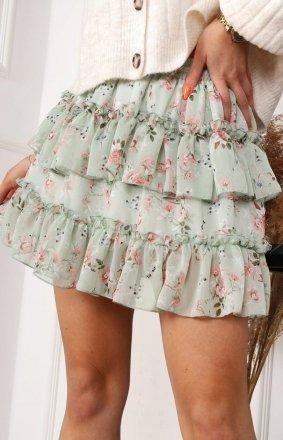 *Mini spódniczka w kwiaty zielona 04