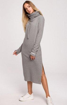 Maxi sukienka z wysokim golfem szara M622