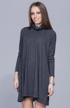 Harmony H013 sukienka z golfem szara