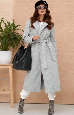 Długi płaszcz z wiązaniem szary 0017
