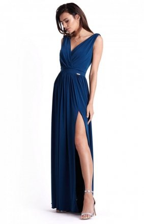 Efektowna długa sukienka granatowa Philippa