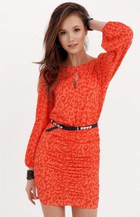 Ołówkowa sukienka z bufiastymi rękawami orange 0280/S26