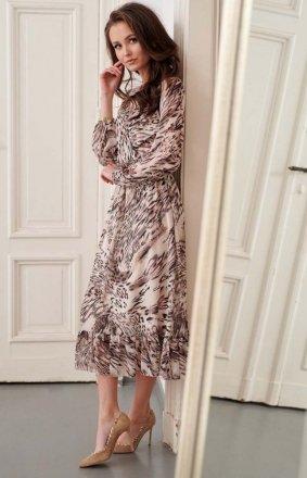 Sukienka midi z falbaną wzorzysta 0241/R31