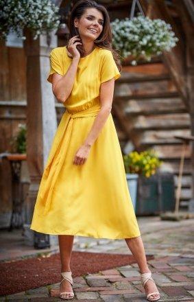 Elegancka sukienka midi żółta A296