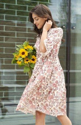 Sukienka z falbanami i troczkiem w pasie różowa SUK197