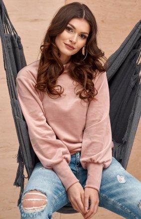 Welurowa bluzka damska różowa 0094