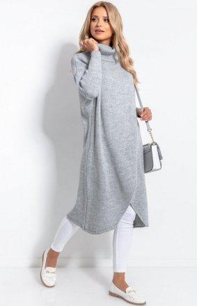 Długi sweter z golfem szary F1052