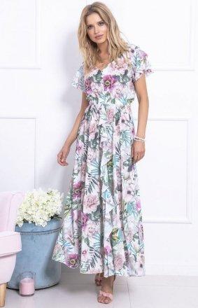 Biało-różowa sukienka maxi w kwiaty F723