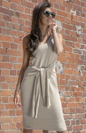 Fobya F541 sukienka dzianinowa beżowa