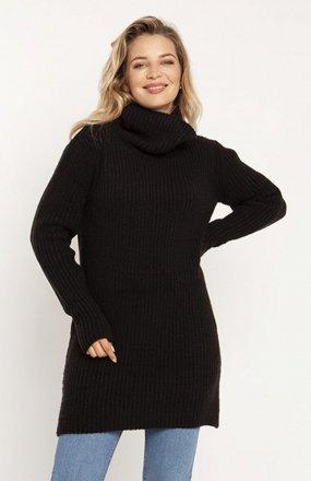 MKM SWE254 długi sweter z golfem czarny