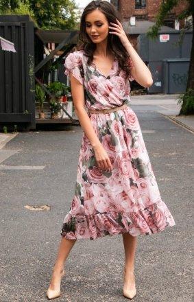 Modna sukienka midi w kolorowe kwiaty 0250/D34