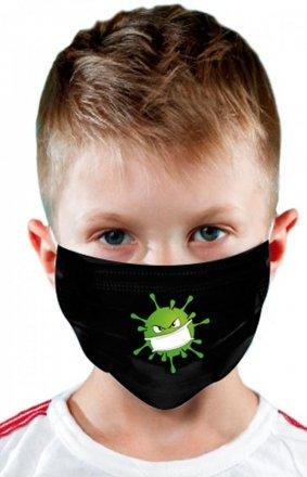 Maseczka dziecięca ochronna koronawirus czarna stop