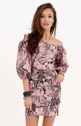 Dopasowana sukienka letnia z hiszpańskim dekoltem 0278/B02