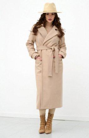 Długi płaszcz z wiązaniem beżowy 0017