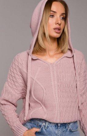 Dzienny sweterk z kapturem różowy M540