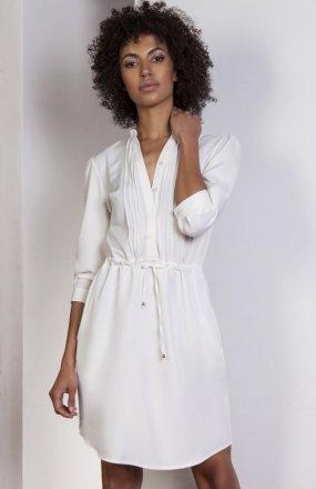 Sukienka ze szczypankami ecru SUK149