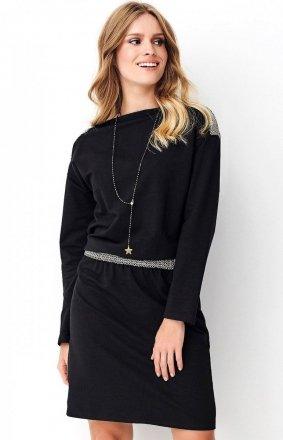 Dzienna sukienka z ozdobną taśmą czarna NU267