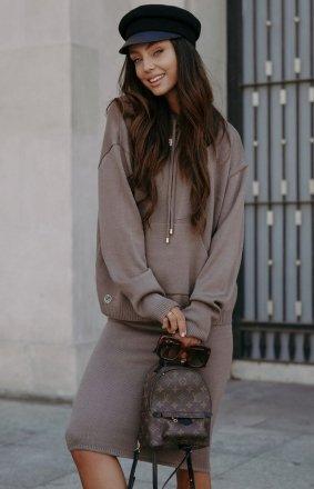 Dresowy komplet cappucino bluza i spódniczka LSG133