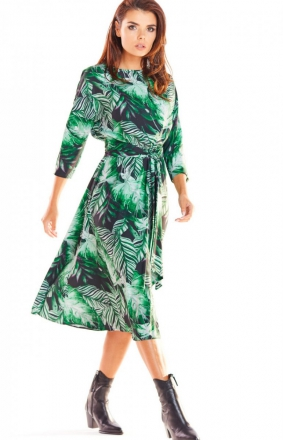 Sukienka midi w zielony wzór Awama A313