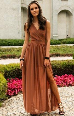 Elegancka długa sukienka koniakowa 0213