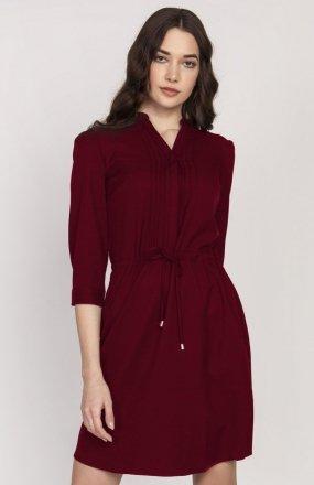 Sukienka ze szczypankami bordowa SUK149