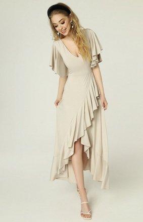 Sukienka z asymetrycznym dołem i falbankami beżowa Juanita